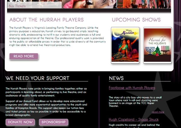 HurrahPlayers.com homepage screenshot