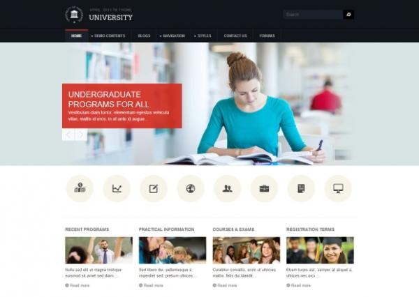 TB University - Education Drupal theme Homepage Screenshot