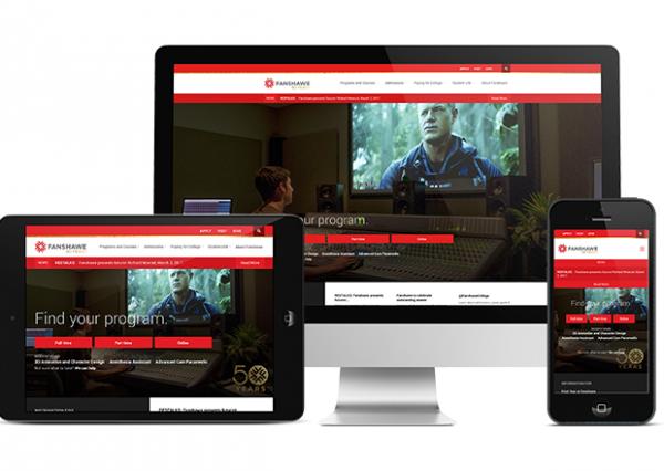 Desktop, mobile, and tablet versions of the Fanshawe College website