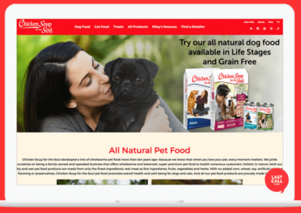 Pet Food Site Homepage Screenshot