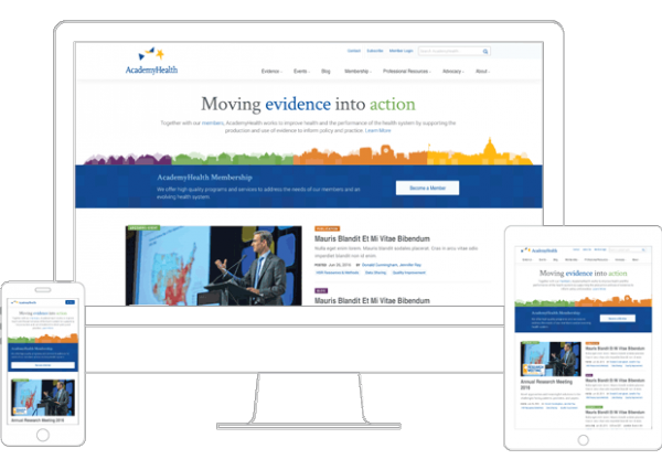 AcademyHealth homepage on multiple devices