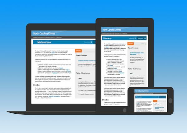 Examples of responsive design for the NC Crimes online reference book