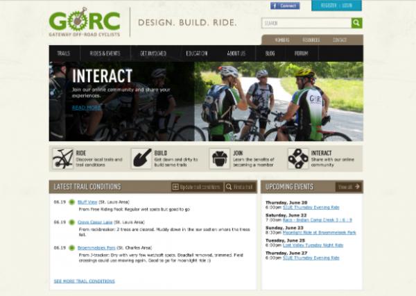 Gateway Off-Road Cyclists homepage screenshot