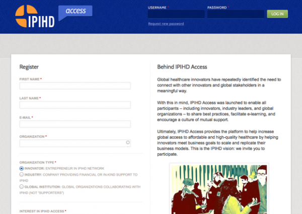 Homepage for unauthenticated visitors to IPIHD Access