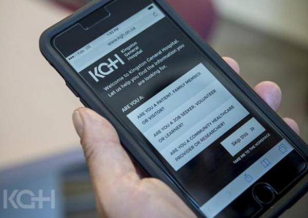 KGH landing page on iphone