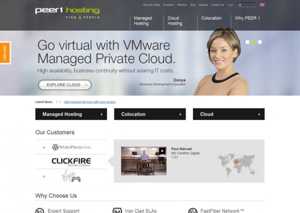 PEER 1 Hosting Multisite Homepage