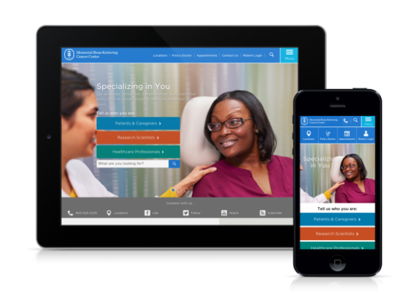 image of MSK homepage on tablet and mobile