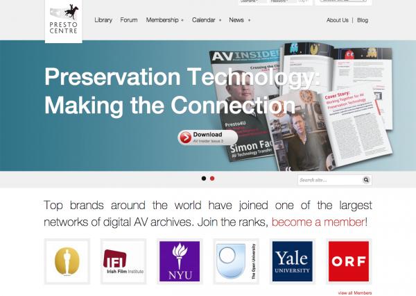 Screenshot of the PrestoCentre.org website