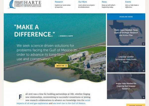 Screenshot of the Harte Research Institute homepage at harteresearchinstitute.org