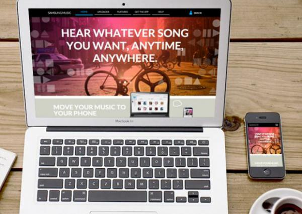 Samsungmusic.com displayed on a laptop and mobile phone