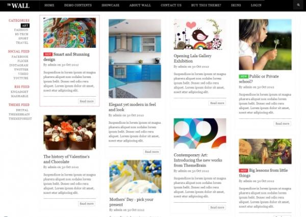 TB Wall - Premium Drupal theme with Pinterest design