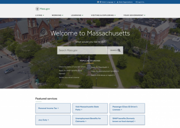 mass.gov homepage