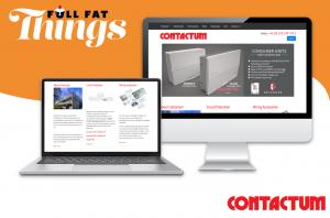 Full Fat Things, Contactum case study logo, laptop and desktop mockup