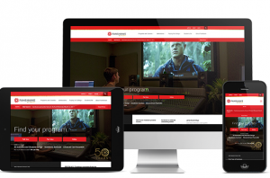Desktop, mobile, and tablet versions of the Fanshawe College website