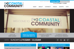 Coastal Community Church homepage on Drupal