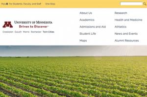 Screenshot of homepage at umn.edu