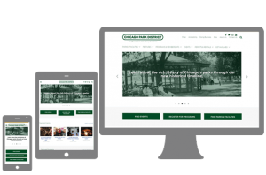 Chicago Park District website shown at different viewports