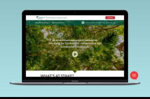 screenshot of rainforest alliance homepage on a laptop