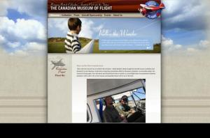 homepage screen shot of the Canadian Museum of Flight