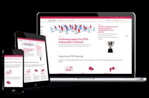 Stem homepage shown in desktop, tablet, and mobile