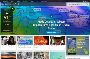 Screenshot of the Weather.com homepage
