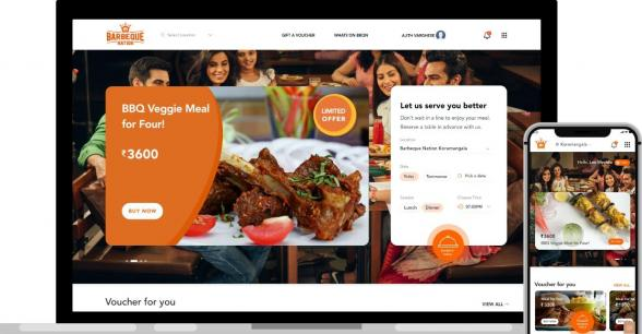 Barbeque Nation - web and mobile view of the website