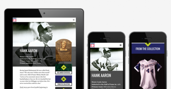 National Baseball Hall of Fame and Museum website on tablet and mobile phones