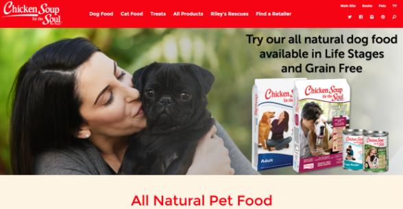 Pet Food Site Homepage Screenshot