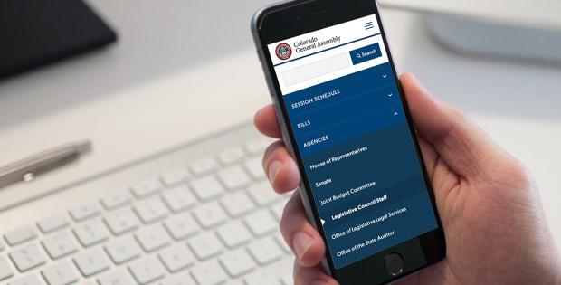 A person showing Drupal government website on mobile phone.
