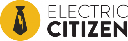 Electric Citizen logo, with a lightning bolt icon over a black tie