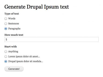 Drupal Ipsum tex generation form