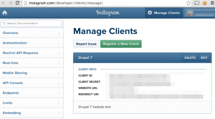 Instagram API console manage clients screen