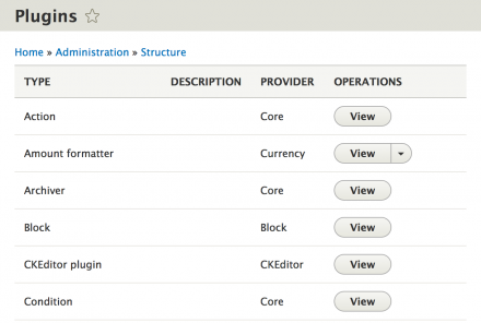 The plugin type overview at Administer > Structure > Plugins.