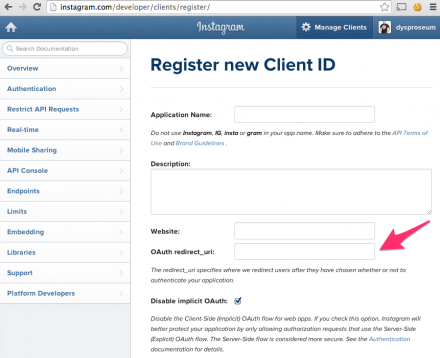 Instagram API console register new client screen