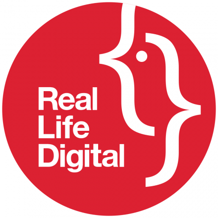 Real Life Digital logo - a red circle with a code bird on it and the words: Real Life Digital