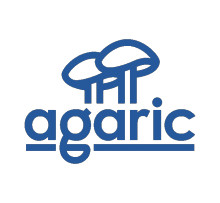 "Agaric logo (two cooperative mushrooms) and wordmark (""agaric"")"