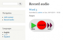 """Audio prompter page after recording a word.  The """"next"""" button loads the next word."""