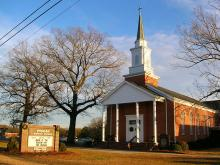 Pisgah Baptist Church, a typical Protestant church in rural America