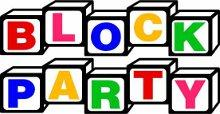 block party logo made of building blocks spelling block party