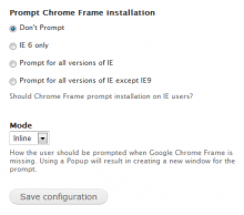 Chrome Frame Settings