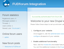 Authenticated users from Forum DB. Stats, online users and latest forum posts displayed can be displayed as standard Drupal blocks.