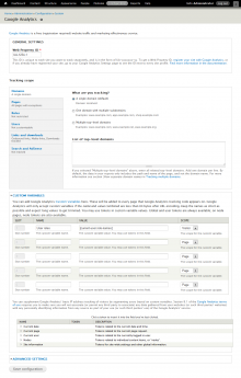 Google Analytics for Drupal configuration page