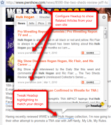 Configured Headup to show your related articles