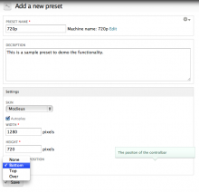 Screenshot of preset configuration