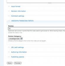 'Userpoints Node Access' Fieldset on Node Add/Edit Form.