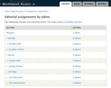 Workbench Access editor assignments