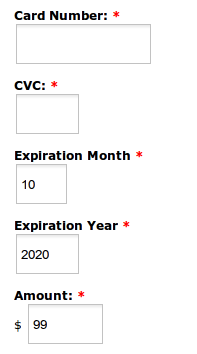 The form components added to the webform