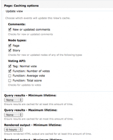 Views content cache settings page