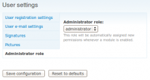 Admin Role module screenshot