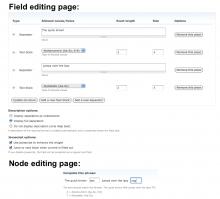 Advanced Text Screenshot (Field and Node editing view)